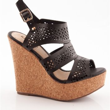 Band Together Laser Cut Three Band Cork Wedge Sandals - Black