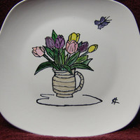 Hand Painted, Tulip Bouquet, Decorative Plate