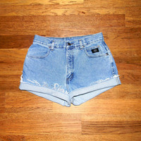 Vintage Denim Cut Offs - 90s High Waisted Light Wash Stone Washed Jean Shorts, Cut Off/Frayed/High Waist HARLEY DAVIDSON Shorts Size 11/12