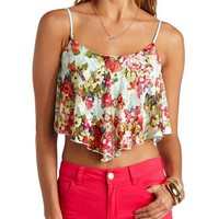 FLORAL PRINT LACE SWING CROP TOP