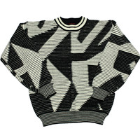 Vintage 90s Black/White Acrylic Sweater Mens Size Medium