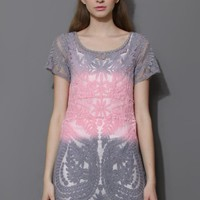 Gray & Pink Dip Dye Mesh Crochet Dress