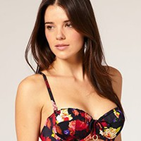 Ted Baker | Ted Baker Lujo Padded Bikini Top With Rose Print at ASOS
