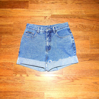 Vintage Denim Cut Offs - 90s Stone Wash/Acid Washed Jean Shorts - Cut Off/Frayed/Distressed/High Waist Shorts by NY JEANS - Size 7/8