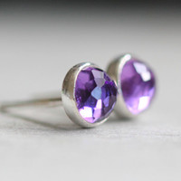 Rose Cut Amethyst Stud Earrings, Post Earrings, Sterling Silver and 5mm Stones