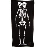 Sourpuss Skeleton Beach Towel Gothic Punk Rockabilly Style Homewares