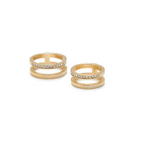 Pave Cage Ring Duo