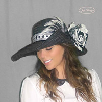 SUZANNE a Reconstructed Vintage Women's Black Straw Wide Floppy Brim Hat Perfect for a day at the races Kentucky Derby and/or Sun