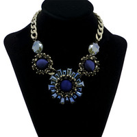 Women's New Crystal Gemstone Choker Bib Party Statement Necklace Pendant Retro