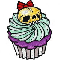 Kreepsville 666 Cupcake Skull Iron On Patch | Horror Punk Rockabilly