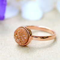 Orange,Quartz Ring,Druzy Ring,Rose Gold,Agate Ring,Geode Ring,Gold Ring,Gemstone,Stacking ring,Delicate ring,Drusy ring,Mother ring,silver
