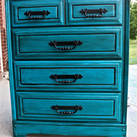 Vintage Bondi Blue Chest of Drawers accented with stain by AquaXpressions