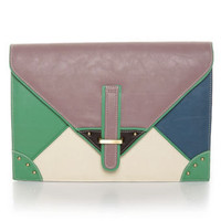 Cute Color Block Clutch - Purple Clutch - Envelope Clutch