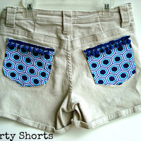 Khaki Shorts Embellished Pocket 28 Waist by shortyshorts on Etsy