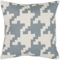 "20"" Slate Blue and Papyrus White Houndstooth Decorative Throw Pillow"