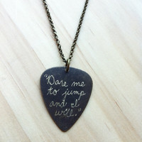 Engraved Brass Guitar Pick Necklace  Tom Waits by runlovedare07