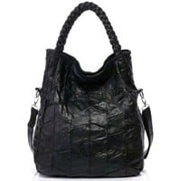 Black Quilted Woven Double Handle Tote Purse Handbag Shoulder Bag