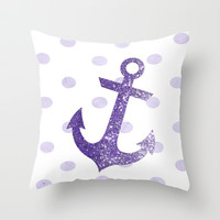 GLITTER ANCHOR AND DOTS in VIOLET Throw Pillow by colorstudio