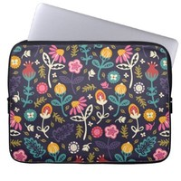 Cute Vintage Ditsy Floral Pattern Laptop Sleeve