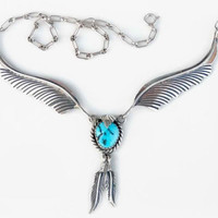 1970s Turquoise Necklace - Vintage Sterling Silver Necklace - Vintage Southwestern Silver - Turquoise Feather Necklace - 18.5""