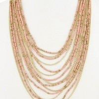 Multi Layered Seed Bead Necklace - Peach/Gold