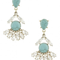 Crystal & Stone Chandelier Drop Earrings - Turquoise