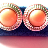 Vintage Peach and Silver Tone Button Style Earrings