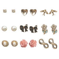 Flower Mix Button Earring 9-Pack | Wet Seal