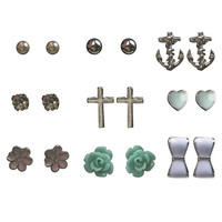Bow & Flower Button Earring 9-Pack | Wet Seal