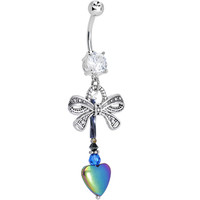 Handcrafted Clear CZ Gift of the Heart Dangle Belly Ring | Body Candy Body Jewelry