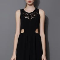 Black Artistic Waist Cut Out Sleeveless Dress