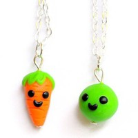 Handmade Pea & Carrot Best Friend Necklaces