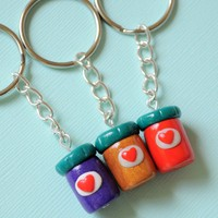 Handmade Three-Way Peanut Butter and Jelly Jars Best Friend Key Chains