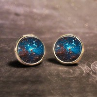 Space Dome Stud Earrings - Sparkly Outter-Space Silver Post Earrings
