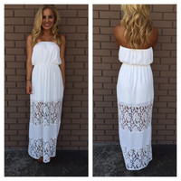 Keepsake White Lace Strapless Maxi Dress