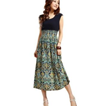 Zeagoo Women's Vintage Sleeveless Bohemian High Waist Skirt Long Dress