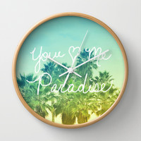 You - Me - Paradise Wall Clock by Lisa Argyropoulos | Society6
