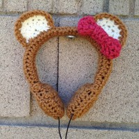 Honey Bear Crocheted Headphones - Vegan & Made in the USA