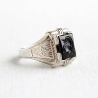 Vintage Sterling Silver Black Glass Cameo Warrior Ring- Antique Size 10 Art Deco 1930s Hallmarked OB Ostby & Barton Jewelry