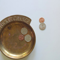 Vintage Brass Pocket Change Dish 1985