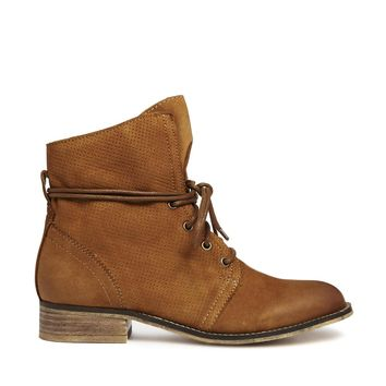 ALDO Perforated Tan Lace Ankle Boots