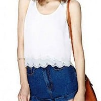 White Chiffon Tank Top with Lace Embellished Hollow Out Back