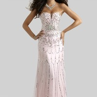 Clarisse 4307 Pale Pink Beaded Chiffon Dress