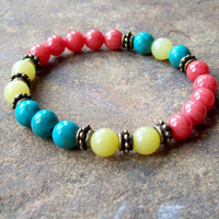 Summer Boho beaded bracelet - pink - turquoise - yellow