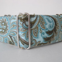 "Aqua Martingale Collar, 1.5"" Martingale Collars, Paisley, Aqua Dog Collar, Aqua, Greyhound Collar, Paisley Dog Collar, Custom"
