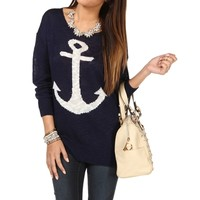 Navy/White Anchor Sweater