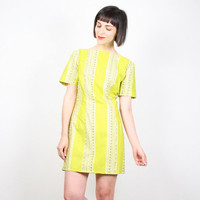 Vintage 60s Dress Yellow Green Mini Dress Heart Stripe Print Mod Mini Shift Dress 1960s Bright Lime Homemade Sheath Dress Summer L Large