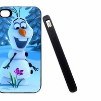 Iphone 5C Case, Thin Flexible Rubber Case Frozen flower Olaf Design