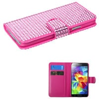 MYBAT Book-Style Flip Wallet Case for Galaxy S5 - Pink Diamonds