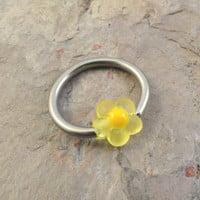 Yellow Daisy Flower Cartilage Hoop Earring or Belly Button Ring